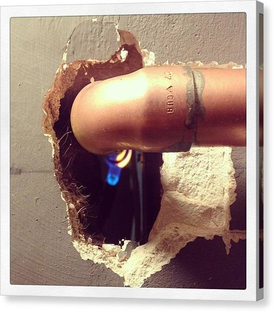 Flames Canvas Print - New Pipe Work For The New Boiler by Joe Trethewey