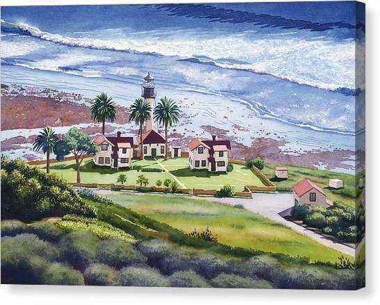 Coffee Mug Canvas Print - New Point Loma Lighthouse by Mary Helmreich