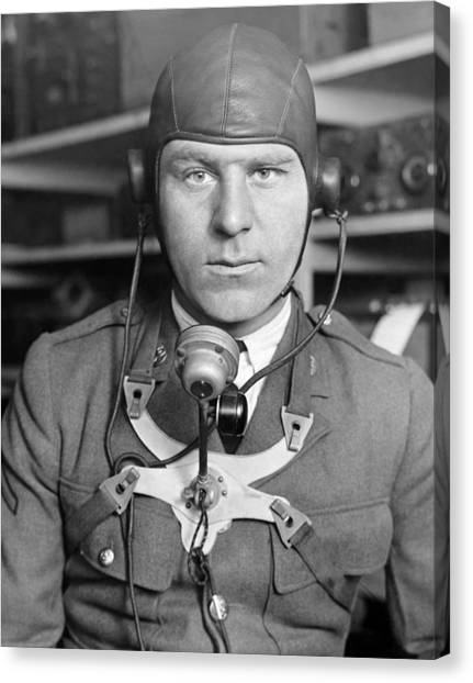 United States Army Air Corps Canvas Print - New Radio Gear For Flyers by Underwood Archives