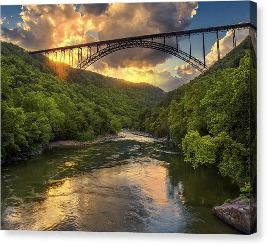 New River Evening Glow Canvas Print