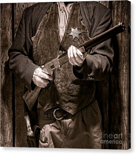 Shotguns Canvas Print - New Sheriff In Town  by Olivier Le Queinec