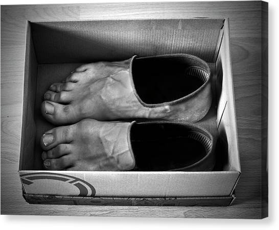 Toes Canvas Print - New Shoes by Paul Gibney