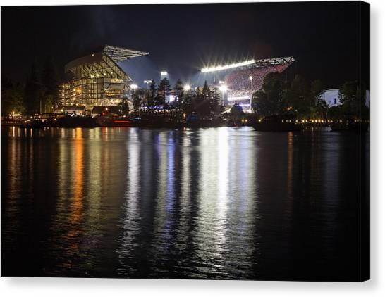 University Of Washington Canvas Print - New Husky Stadium Reflection by Max Waugh