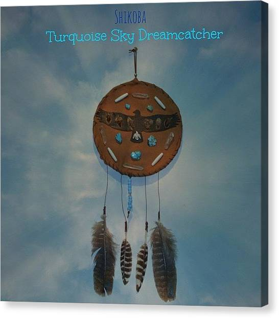 Gemstones Canvas Print - New Turquoise Sky Dreamcatcher by Shikoba Photography
