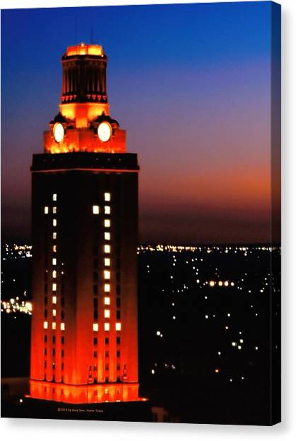 Austin Texas Canvas Print - New Version Of The Ut Tower by Gary Dow