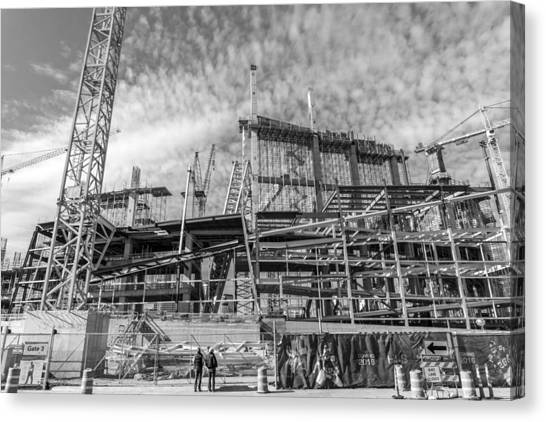 Minnesota Vikings Canvas Print - Minnesota Vikings U S Bank Stadium Under Construction by Jim Hughes