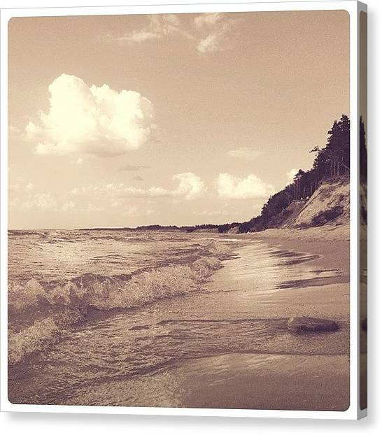 Beach Sunrises Canvas Print - New Wave by Raimond Klavins