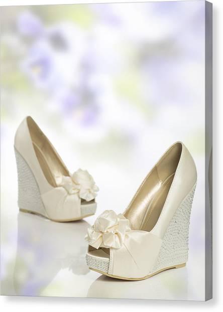 Bridal Canvas Print - New Wedding Sandals by Amanda Elwell