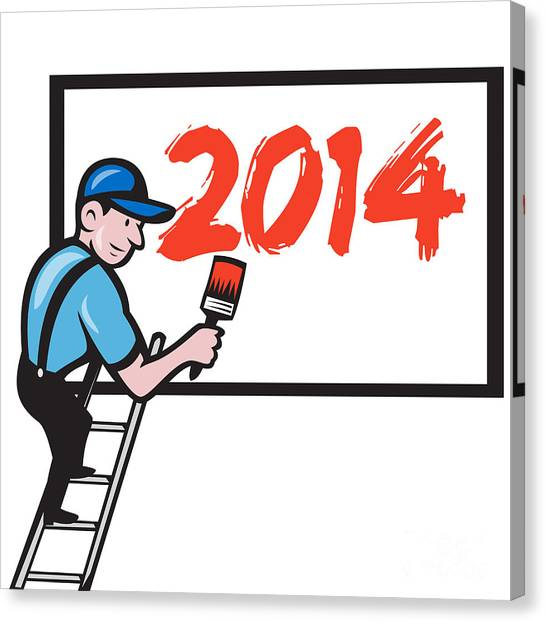 New Year 2014 Painter Painting Billboard Canvas Print by Aloysius Patrimonio