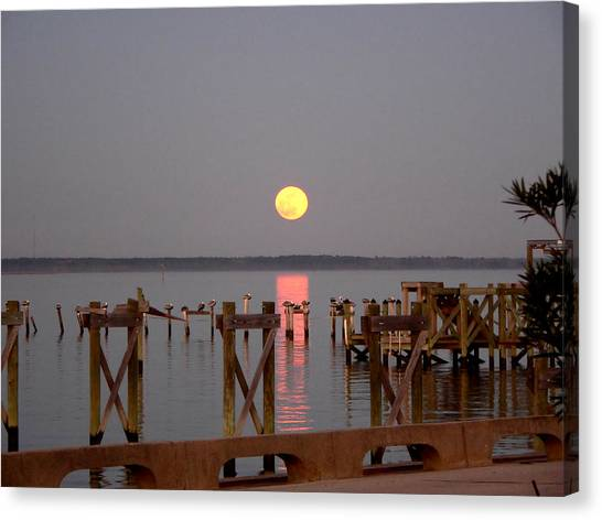 New Years Eve Blue Moon On The Bay Canvas Print