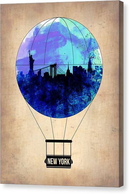 New York Skyline Canvas Print - New York Air Balloon 2 by Naxart Studio
