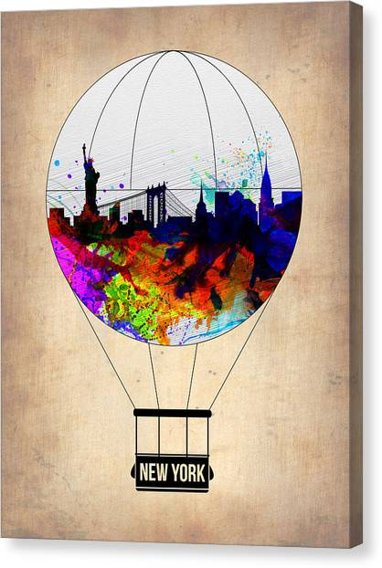 New York Skyline Canvas Print - New York Air Balloon by Naxart Studio