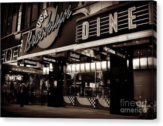 New York At Night - Brooklyn Diner - Sepia Canvas Print