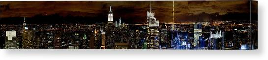 New York At Night Panorama Canvas Print