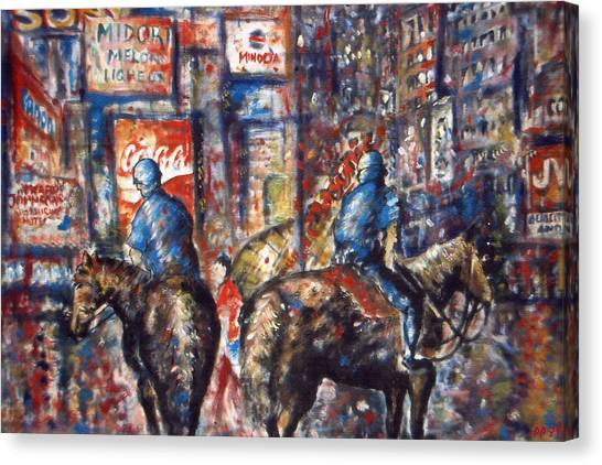 New York Broadway At Night - Oil On Canvas Painting Canvas Print