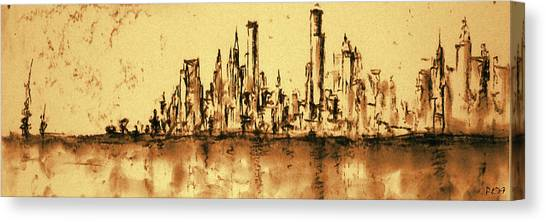 New York City Skyline 79 - Water Color Panorama Canvas Print