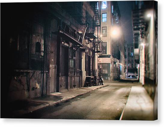 Manhattan At Night Canvas Print - New York City Alley At Night by Vivienne Gucwa