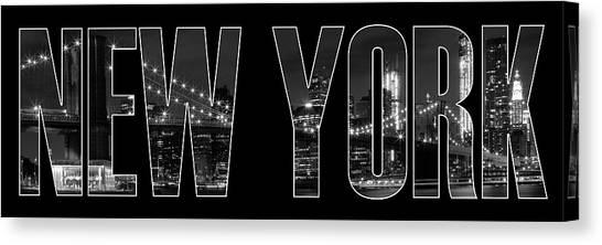 York Canvas Print - New York City Brooklyn Bridge Bw by Melanie Viola