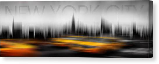 Writing Canvas Print - New York City Cabs Abstract by Az Jackson