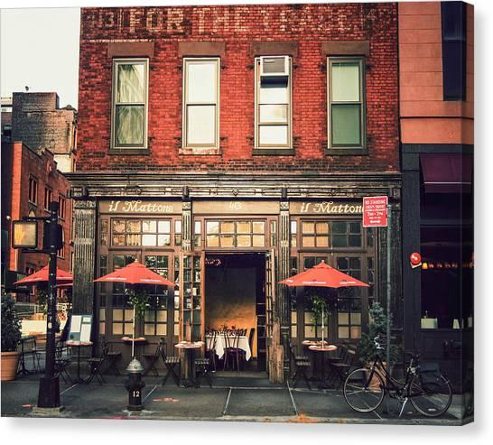 Brick Sidewalk Canvas Print - New York City - Cafe In Tribeca by Vivienne Gucwa