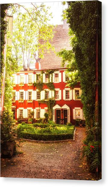 Brownstones Canvas Print - New York City - Charming Townhouses by Vivienne Gucwa