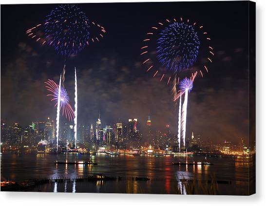 New York City Fireworks Show Canvas Print