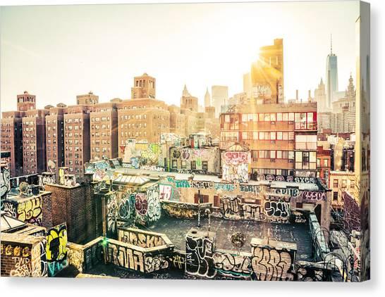 Graffiti Canvas Print - New York City - Graffiti Rooftops Of Chinatown At Sunset by Vivienne Gucwa
