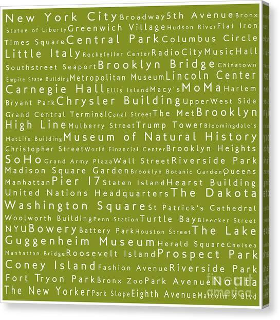 Brooklyn Bridge Canvas Print - New York City In Words Olive by Sabine Jacobs