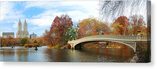 New York City Manhattan Central Park Panorama At Autumn Canvas Print