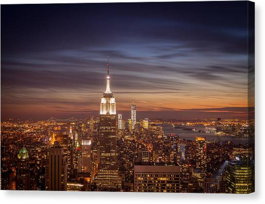 City Sunset Canvas Print - New York City Skyline And Empire State Building At Dusk by Vivienne Gucwa
