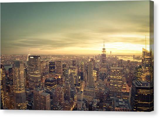City Sunset Canvas Print - New York City - Skyline At Sunset by Vivienne Gucwa