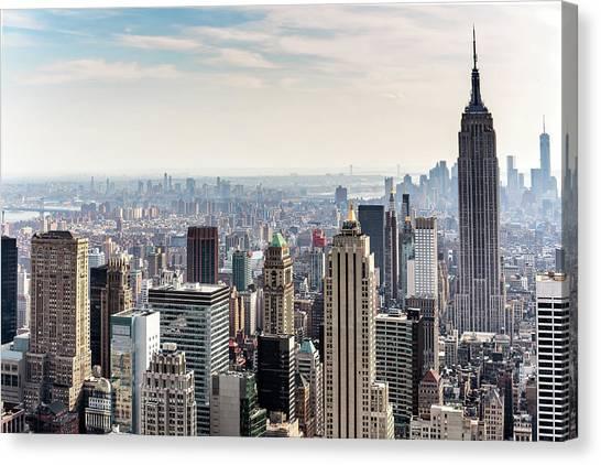 New York City Skyline Canvas Print by Denise Panyik-dale