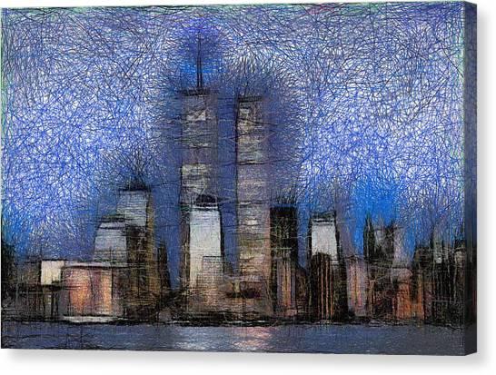 New York City Blue And White Skyline Canvas Print