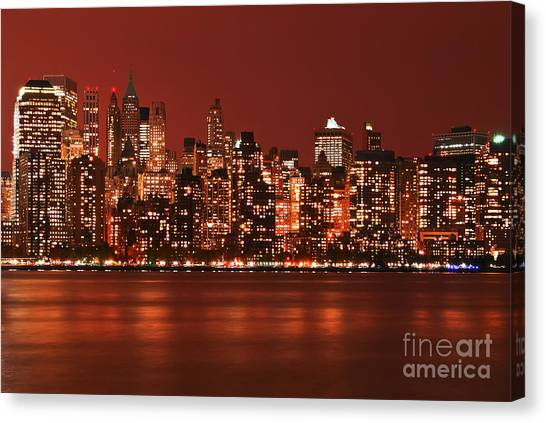 New York City Skyline In Red Canvas Print