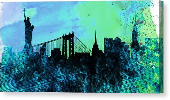 New York City Skyline Canvas Print - New York City Skyline by Naxart Studio