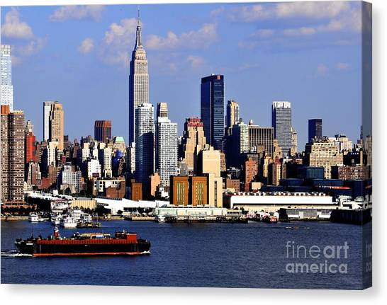 New York City Skyline With Empire State And Red Boat Canvas Print