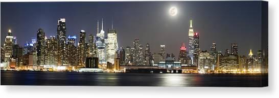 New York City Skyline With Full Moon Canvas Print by Zev Steinhardt