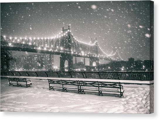 Snowstorm Canvas Print - New York City - Snow At Night - Sutton Place by Vivienne Gucwa