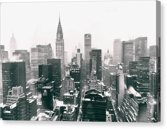Winter Canvas Print - New York City - Snow-covered Skyline by Vivienne Gucwa