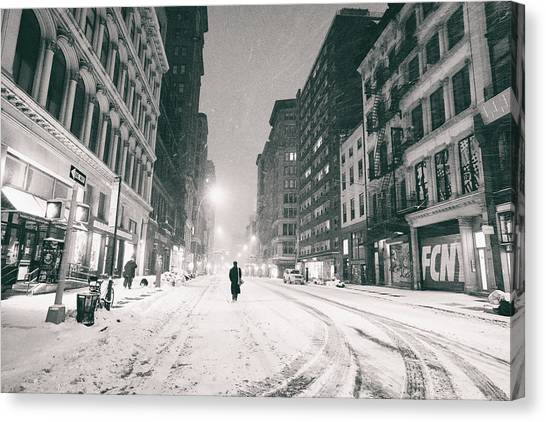 Manhattan At Night Canvas Print - New York City - Snow - Empty Streets At Night by Vivienne Gucwa