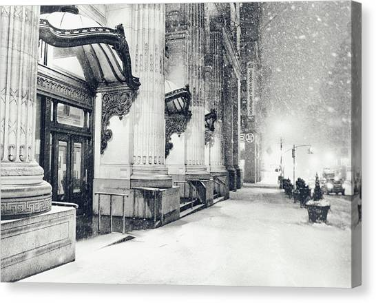Snowstorm Canvas Print - New York City - Snowy Winter Night by Vivienne Gucwa