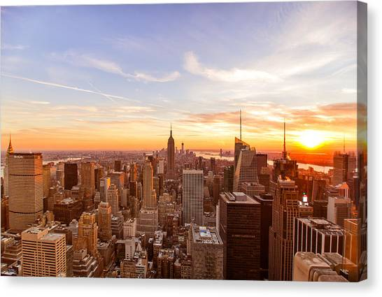 City Sunsets Canvas Print - New York City - Sunset Skyline by Vivienne Gucwa