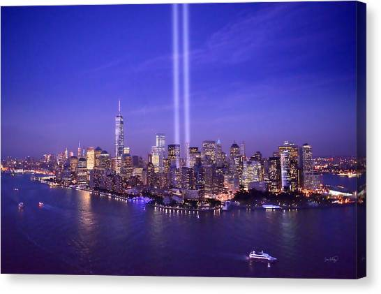 911 Tribute Canvas Print - New York City Tribute In Lights World Trade Center Wtc Manhattan Nyc by Jon Holiday