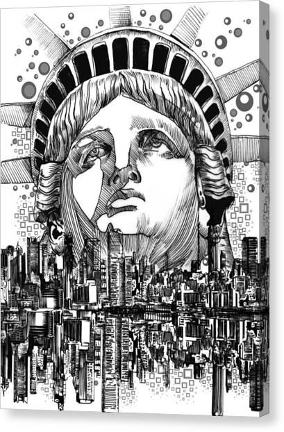 Statue Portrait Canvas Print - New York City Tribute by Bekim Art
