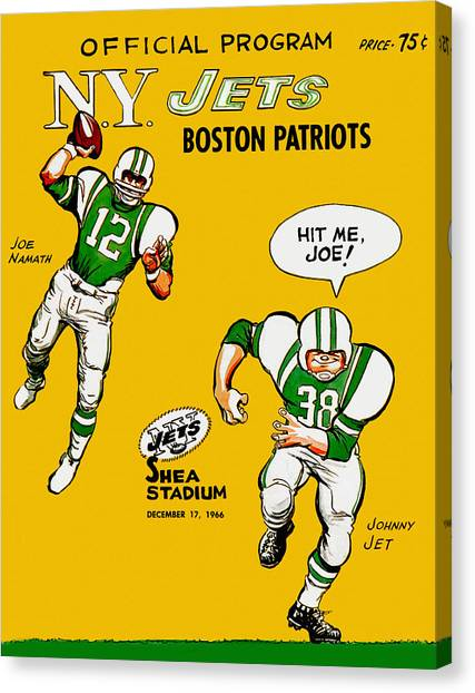 d0783ba34 Joe Namath Canvas Print - New York Jets 1966 Program by John Farr