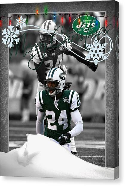 New York Jets Canvas Print - New York Jets Christmas Card by Joe Hamilton