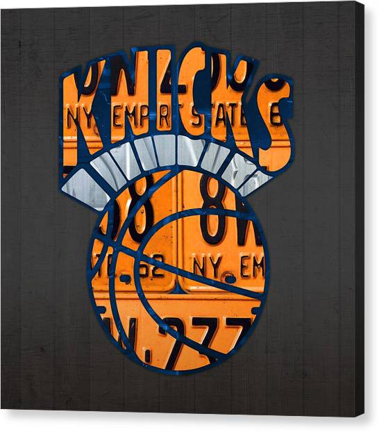 New York Knicks Canvas Print - New York Knicks Basketball Team Retro Logo Vintage Recycled New York License Plate Art by Design Turnpike