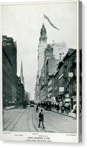 New York  Lower Broadway, Looking North Canvas Print by Mary Evans Picture Library