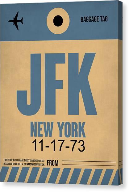 Jfk Canvas Print - New York Luggage Tag Poster 2 by Naxart Studio