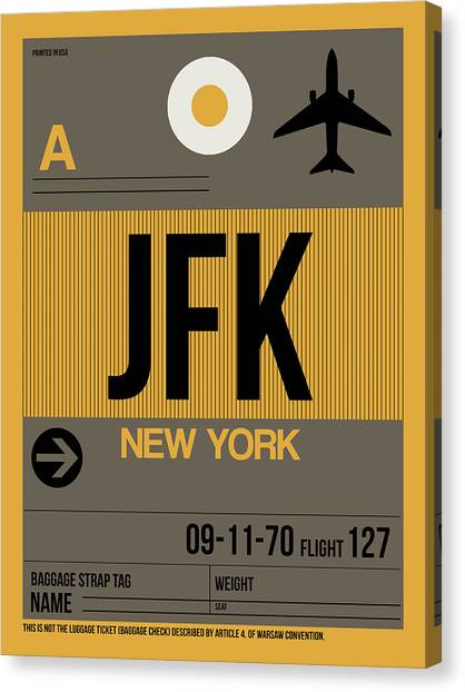 Travel Canvas Print - New York Luggage Tag Poster 3 by Naxart Studio